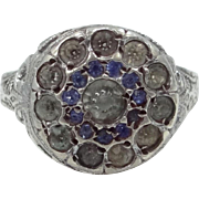 1920's Sterling Silver Filigree Art Deco Crystals Ring