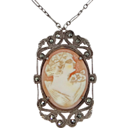 Art Deco Sterling Silver, Large Shell Cameo and Marcasites Necklace