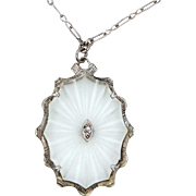 1920's Sterling Silver Reverse Carved Camphor Glass Necklace with Original Chain