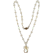 1930's Sterling Silver Freshwater Pearls Filigree Necklace