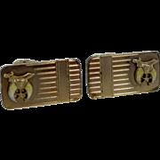 Shriner's Fraternal Gold Filled & Enamel Cufflinks Cuff Links