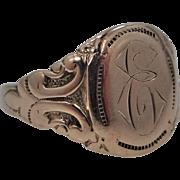 "Victorian 10k Gold Repousse Signet Ring Letter ""E"""