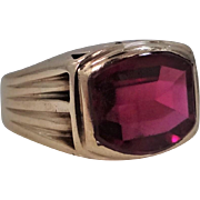 1930's 10k Solid Gold Man's Ruby Ring