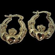 9k Gold Claddagh Motif Hoop Earrings