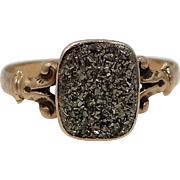 Victorian 10k Gold IronPyrite / Fool's Gold Childs Ring
