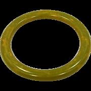 Mottled Green Bakelite Bangle Bracelet