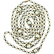 "58"" Long Faux Pearls 1940's Necklace"