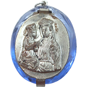 1930's Czeck Blue Glass St. Anne Rosary Case Pendant with Tiny Glass Rosary Inside