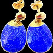 Pretty Sterling Vermeil Cobalt Enamel Dangle Earrings