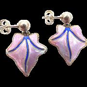 Vintage Sterling Silver Pink & Blue Enamel Dangle Earrings