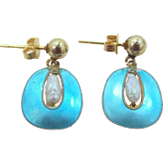 Sterling Silver Blue Enamel & Freshwater Pearls Dangle Earrings