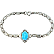 Art Deco Rhodium Plated Blue Enamel Religious Medal