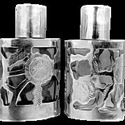 2 Sterling Silver Overlay Perfume Bottles