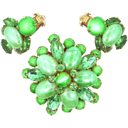 Bright Mint Green BeauJewels Brooch & Matching Earrings All Glass Stones