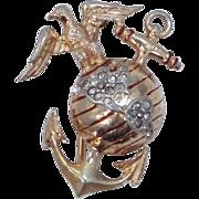 Trifari Sterling Vermeil U.S. Marines Sweetheart Pin WWII