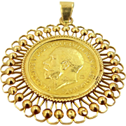 1918 India Gold Sovereign George 22k Gold Coin in an 18k Gold Pendant Frame