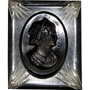 1930's Back Carved Lucite and Celluloid Cameo Pin