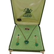 1930's Oriental Jade Necklace & Earrings In Original Box