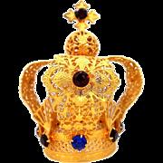 """Vintage Filigree Gilt Brass """"Jeweled"""" Crown Infant of Prague"""