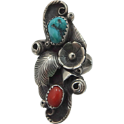 Signed H.J. Navajo Sterling Silver Turquoise & Coral Lady's Knuckle Ring