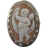 Large Vintage Sterling Silver Carved Shell Cameo Cupid Ring