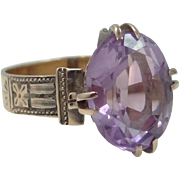 Victorian 10k Rose Gold and Genuine 6 Carat Amethyst Ring