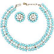 Trifari Mint Condition Faux Turquoise and Pearls Necklace & Earrings
