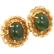 Heavy 14k Solid Gold & Jade Pierced Earrings