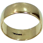 WIDE 14k Solid Gold Size 11 Cigar Band Wedding | Stacking Ring