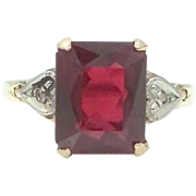 1930's 10k Gold Ruby and Diamonds Lady's Ring