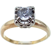 14k Gold White Sapphire Solitaire Mid Century Ring Engagement Wedding