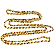 """14k Gold 25 1/2"""" Long Rope Chain Necklace"""