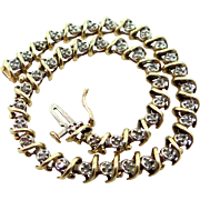 14k Yellow and White Gold Diamond Tennis Bracelet