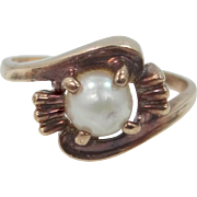 10k Gold and Cultured Pearl Size 7 1/4 Ring