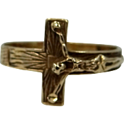 14k Gold Crucifix Ring Size 9 3/4