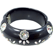 1940's Thick Black Lucite Hinged Clamper Rhinestone Bangle Bracelet