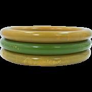3 Matching Stacking Marbelized Bakelite Bangle Bracelets