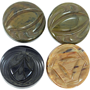 Three BIG and Thick Carved Bakelite Buttons