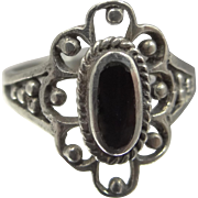 Sterling Silver and Black Onyx Lady's Ring