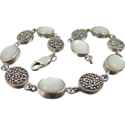 "Sterling Silver Marcasites & Mother of Pearl 8 1/2"" Long Lady's Bracelet"