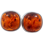 Large Sterling Silver and Natural Amber Pierced Earrings Made in Poland
