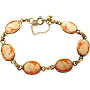 Winard Gold Filled Natural Shell Cameo Bracelet