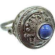 800 Silver Filigree Blue Agate 1920's Ring
