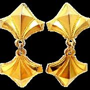 Edwardian Sterling Silver Vermeil Screw Back Earrings