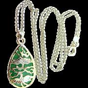 Sterling Vermeil Jadeite Asian Necklace