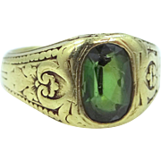 Antique 18k GREEN Gold TIFFANY & Co. Green Tourmaline Ring w/GIA Appraisal