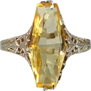 1920's 14k White Gold Filigree Citrine Ring