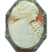 Art Deco 14k White Gold Filigree Carved Shell Cameo Pin