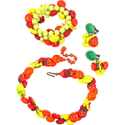 Vintage Fruit Salad Necklace, Memory Wire Bracelet & Earrings Murano Glass Multi Color Lamp Work