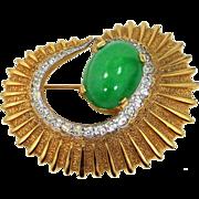 JOMAZ Joseph Mazer Nautilus Jade Green Cabochon Glass Brooch